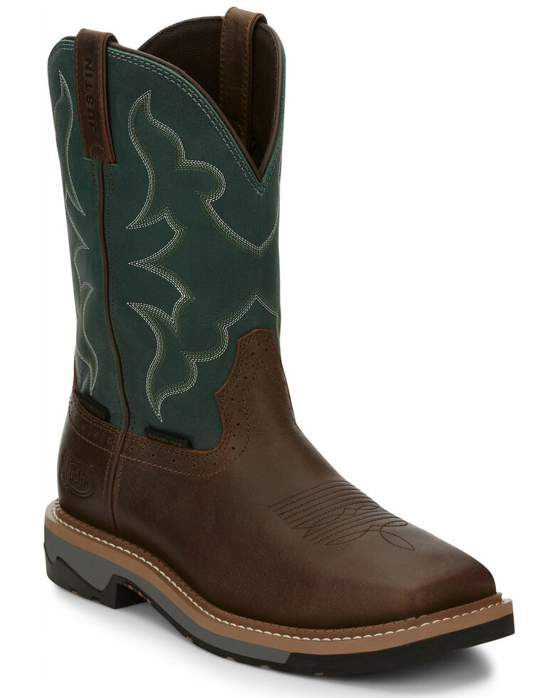 Justin Men's Carbide Waterproof Western Work Boots - Composite Toe, Brown, hi-res