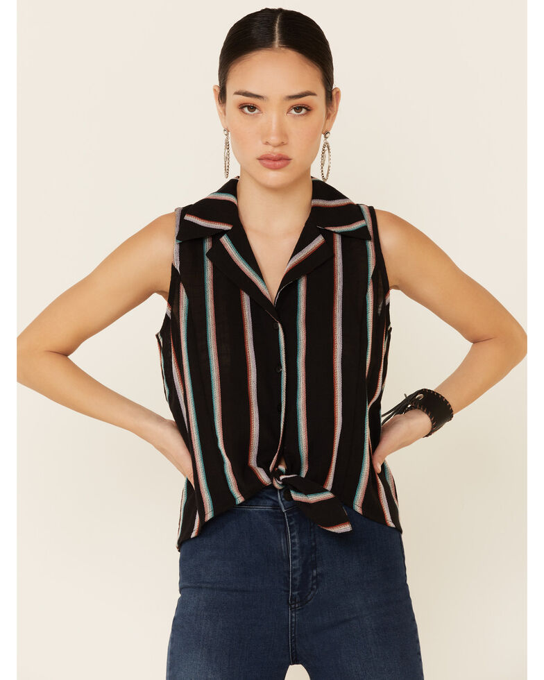 Rock & Roll Denim Women's Serape Stripe Tie-Front Sleeveless Button-Down Western Shirt, Black, hi-res