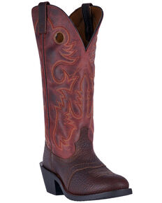 Laredo Men's Hank Western Boots - Round Toe, Dark Brown, hi-res