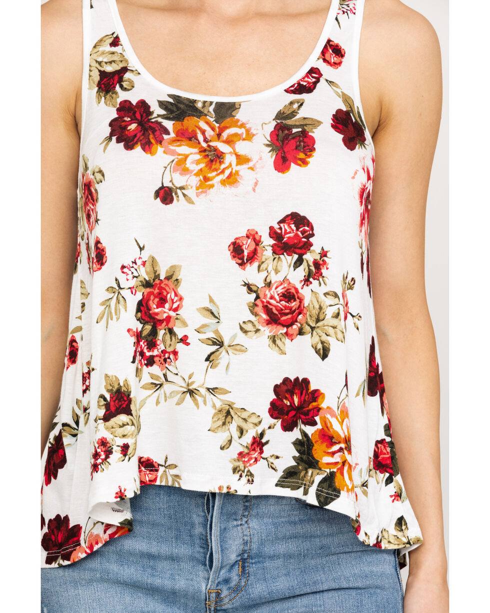 Red Label by Panhandle Women's Rose Print Tank Top , Ivory, hi-res