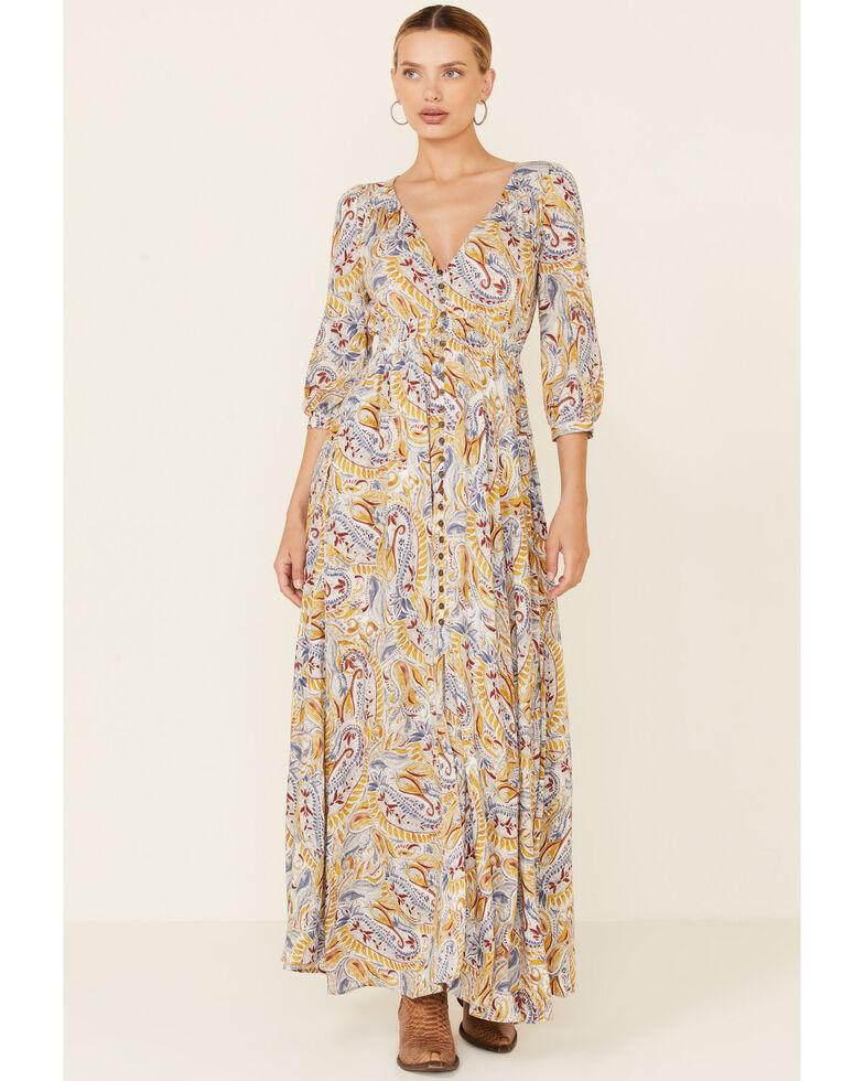 Shyanne Women's Mustard Paisley Maxi Dress, White, hi-res