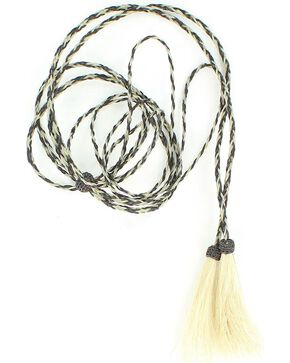 Black & Grey Horsehair Stampede String, Grey, hi-res