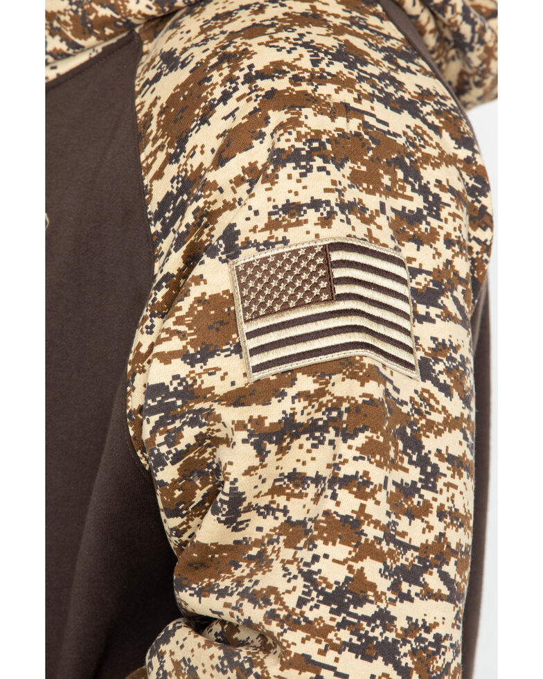 Ariat Men's Brown Patriot Desert Camo Hooded Sweatshirt, Brown, hi-res