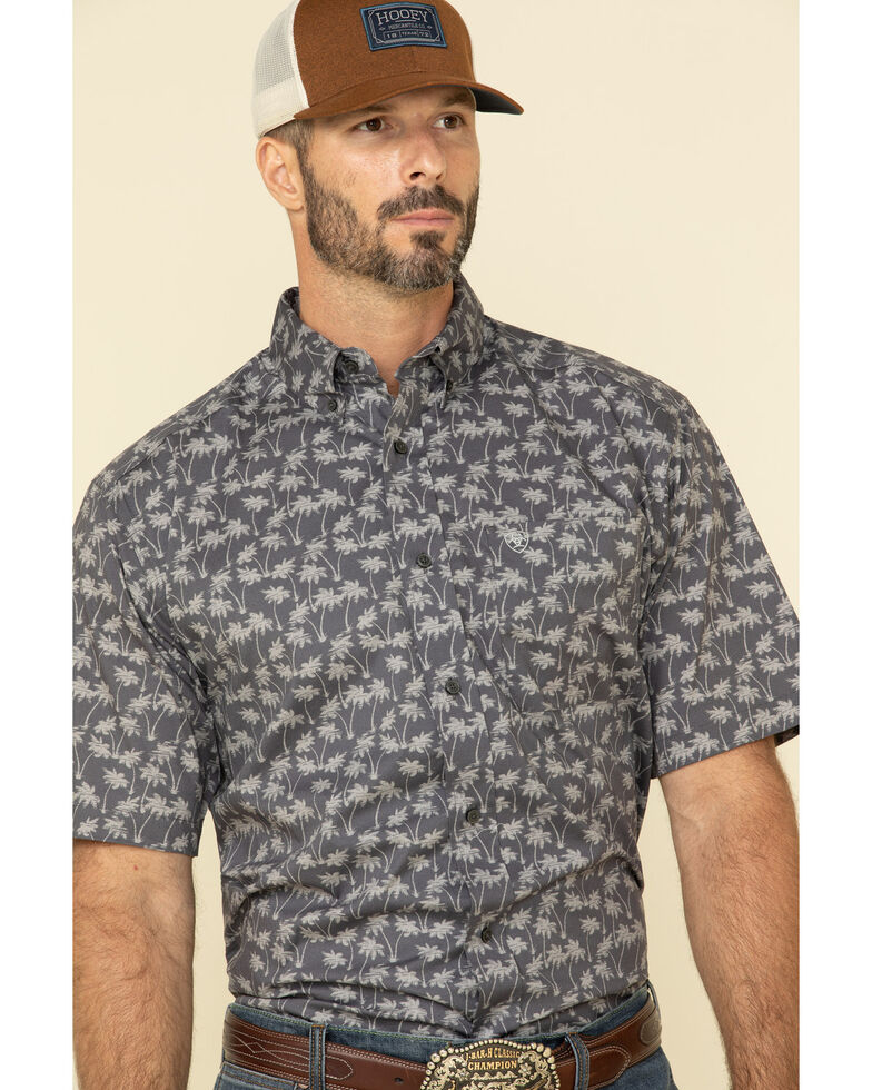 Ariat Men's Grendon Hawaiian Print Short Sleeve Western Shirt , Blue, hi-res
