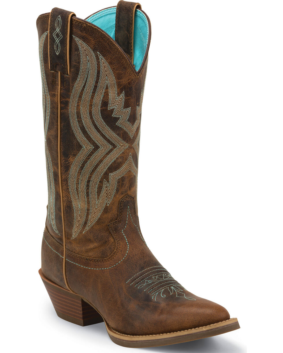 Justin Women's Quinlan Western Boots, Brown, hi-res