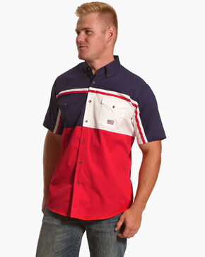 Ely Cattleman Men's Patriotic Stripe Short Sleeve Snap Shirt, Red, hi-res