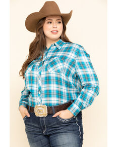 White Label by Panhandle Women's Blue Plaid Button Shirt - Plus, Blue, hi-res