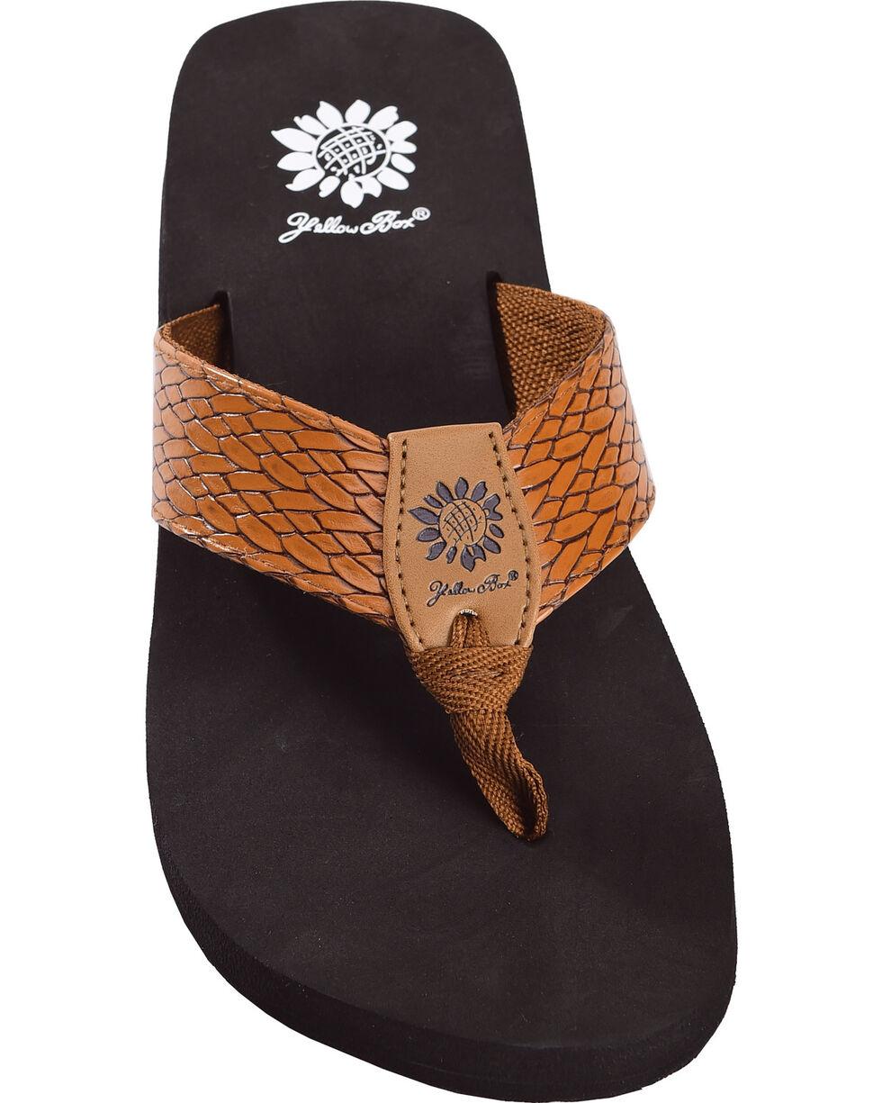 Yellow Box Women's Flax Tan Embossed Sandals, Tan, hi-res