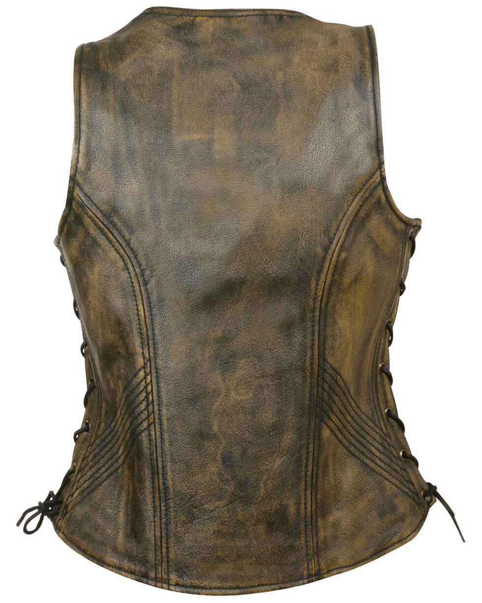 Milwaukee Leather Women's Open Neck Side Lace Zipper Front Vest - 5X, , hi-res