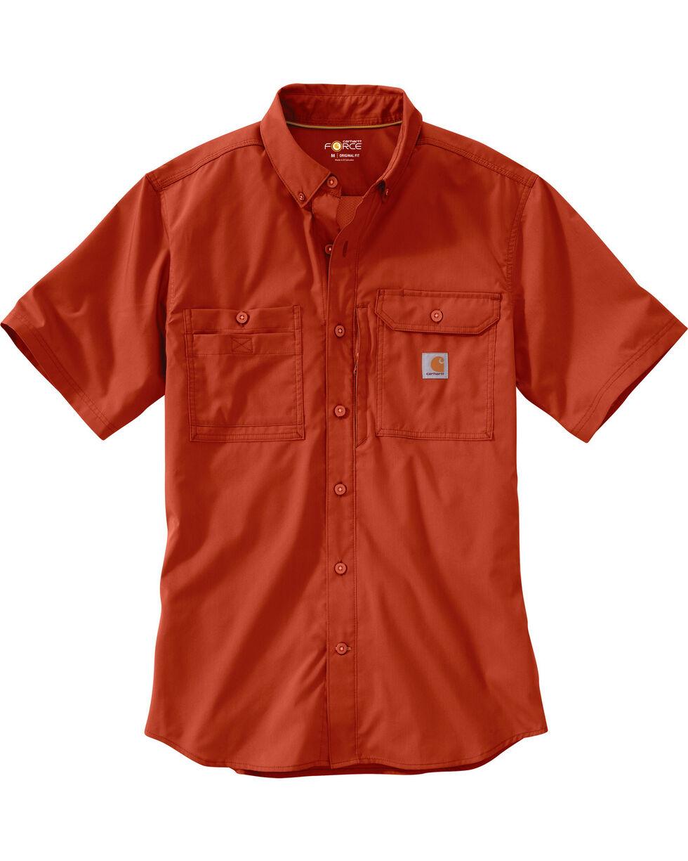 Carhartt Men's Double Pocket Short Sleeve Work Shirt, Chili, hi-res