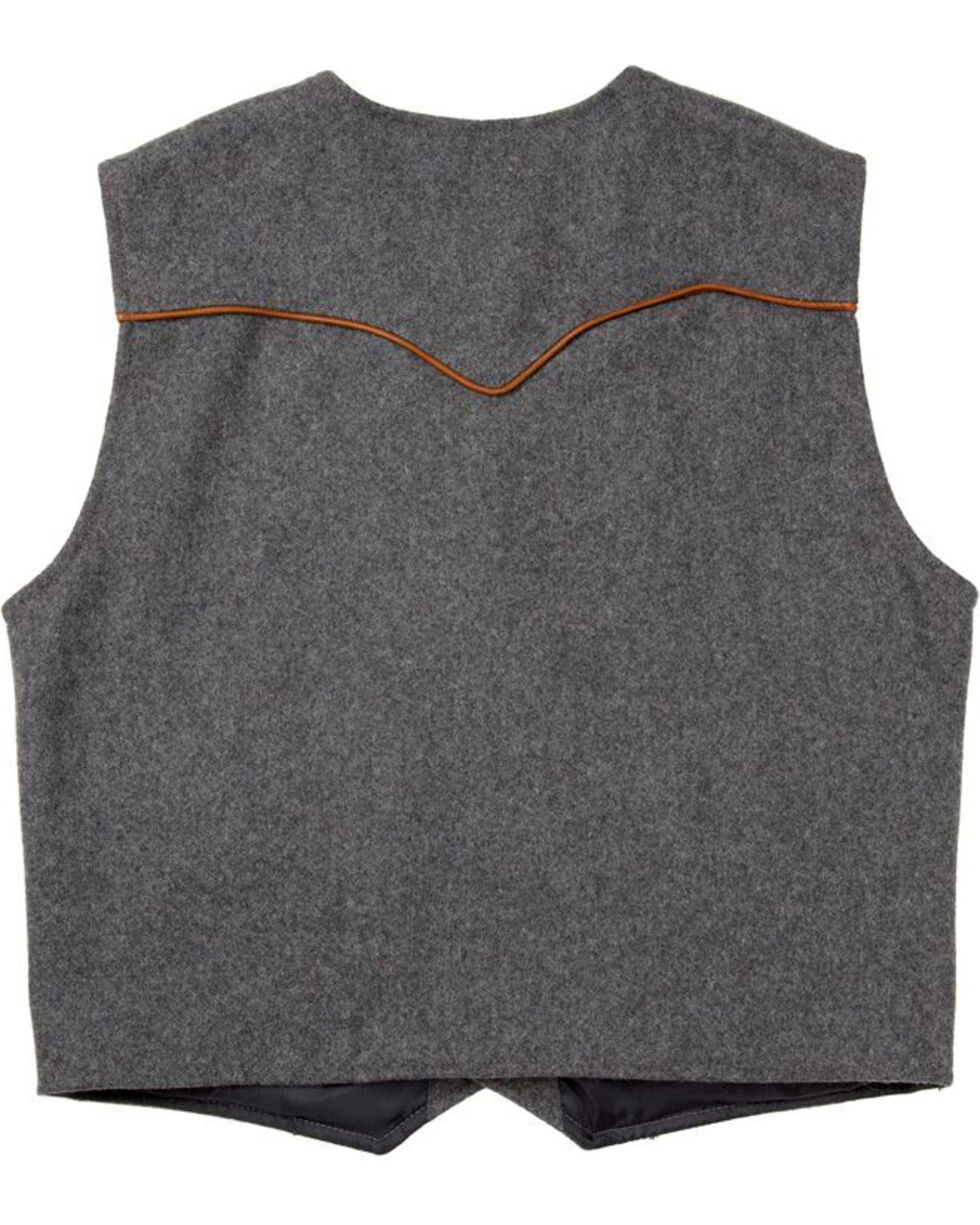 Schaefer Outfitter Men's Charcoal Stockman Melton Wool Vest - XLT, Charcoal, hi-res