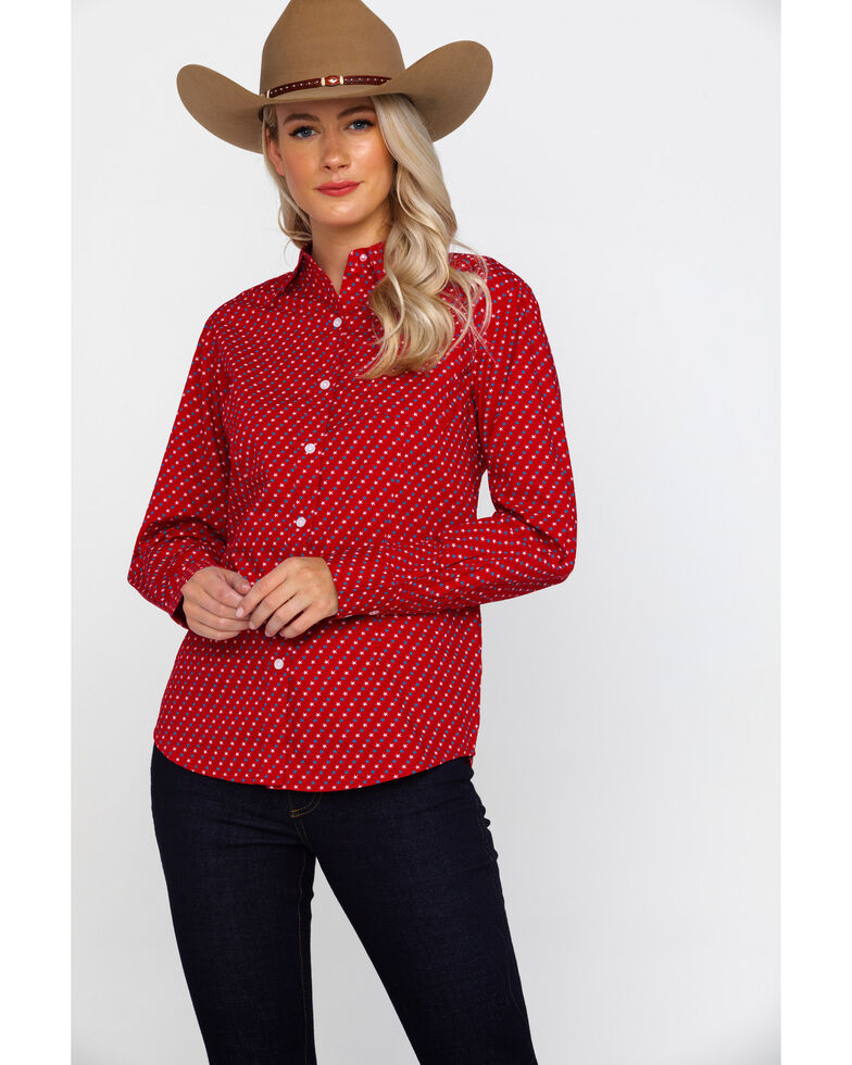 George Strait By Wrangler Women's Red Star Print Long Sleeve Western Shirt , Red, hi-res