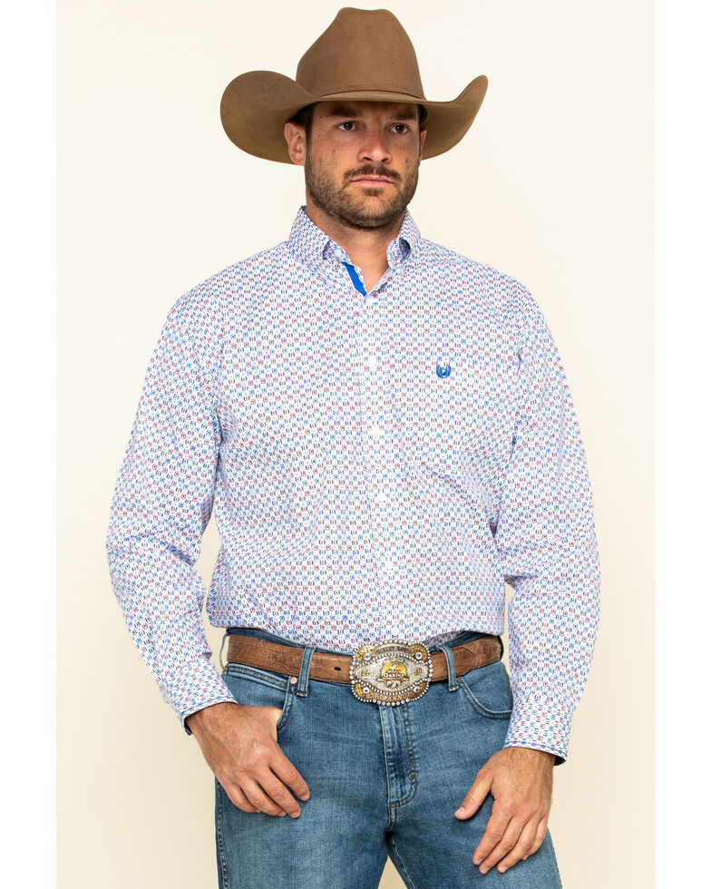 Rough Stock By Panhandle Men's Tamworth Geo Print Long Sleeve Western Shirt , White, hi-res