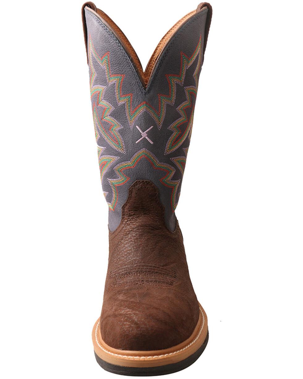 Twisted X Men's Lite Cowboy Western Work Boots - Round Toe, Brown/blue, hi-res