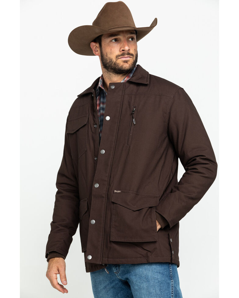 Wrangler Men's Barn Coat, Brown, hi-res