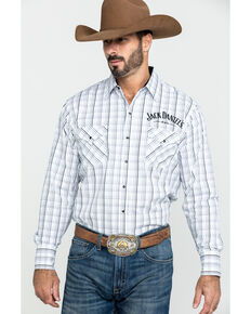 Jack Daniel's Men's Windowpane Plaid Long Sleeve Western Shirt , White, hi-res