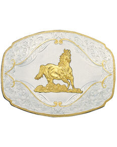 Montana Silversmiths Galloping Horse Western Belt Buckle, Multi, hi-res