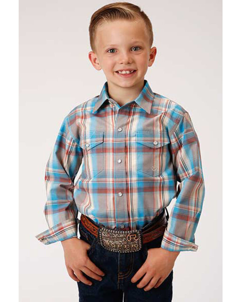 Amarillo Boys' Oasis Plaid Long Sleeve Western Shirt , Multi, hi-res