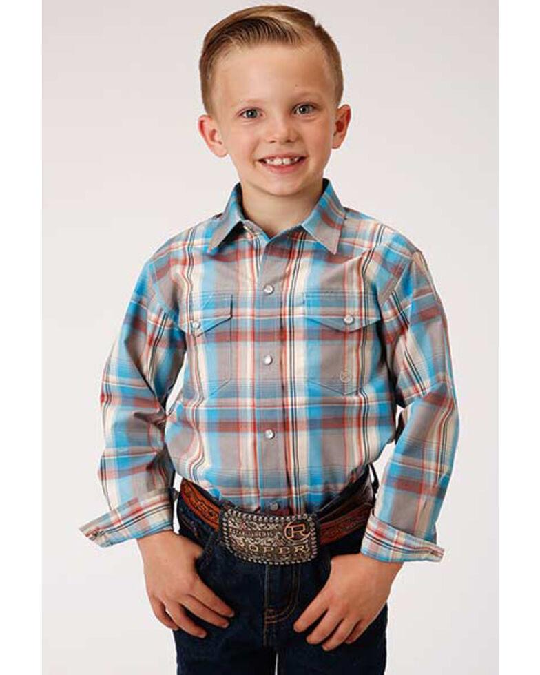 Amarillo Boys' Oasis Plaid Long Sleeve Western Shirt , Multi, hi-res