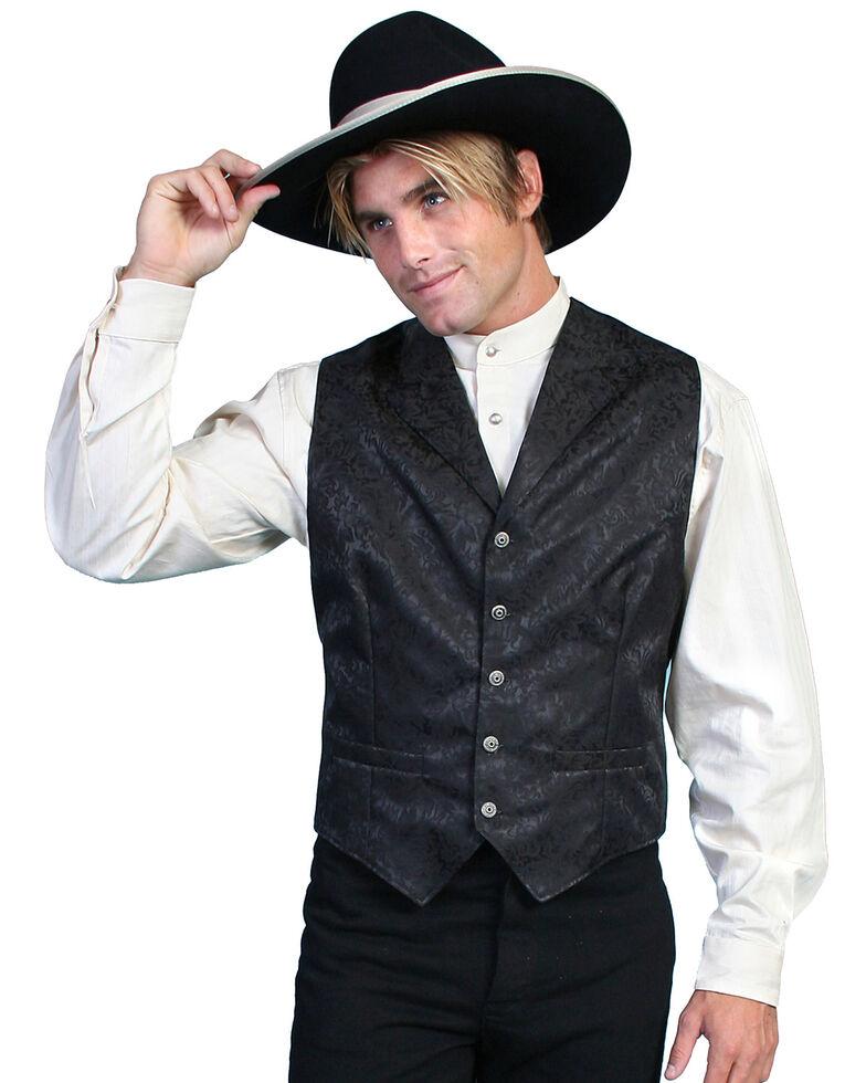 Wahmaker Silk Floral Single Breasted Vest - Big & Tall, Black, hi-res