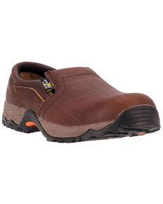 McRae Men's Comp Toe Met Guard Slip-On Work Shoes, Brown, hi-res