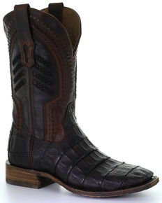 Corral Men's Oil Brown Caiman Embroidery Western Boots - Square Toe, Brown, hi-res