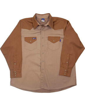 Lapco Men's Khaki FR Two-Tone Western Shirt - Big, Beige/khaki, hi-res