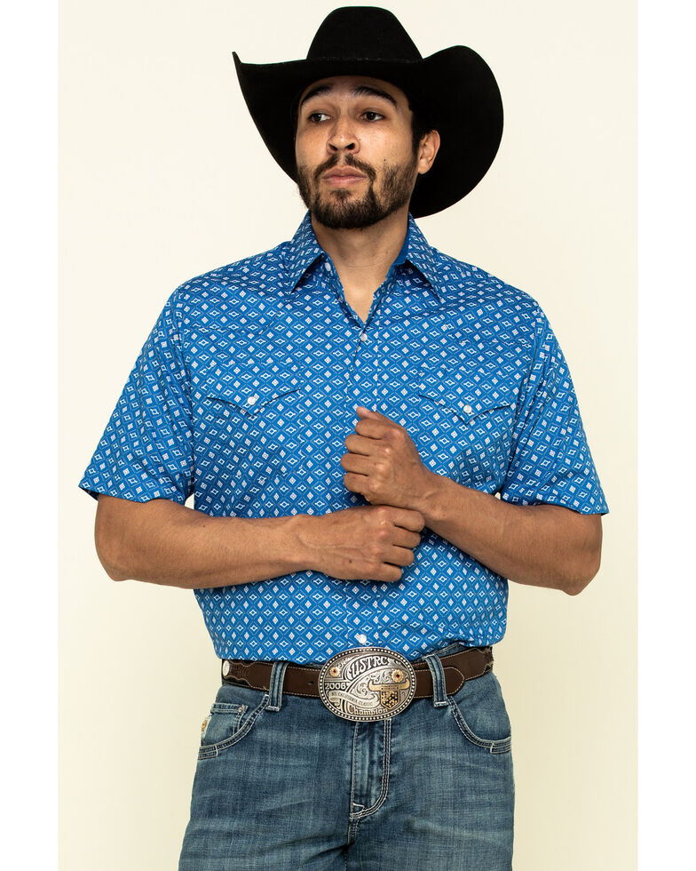 Ely Walker Men's Multi Aztec Geo Print Short Sleeve Western Shirt - Tall, Blue, hi-res