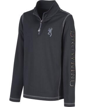 Browning Boys' Black Pitch Quarter Zip Sweatshirt, Black, hi-res