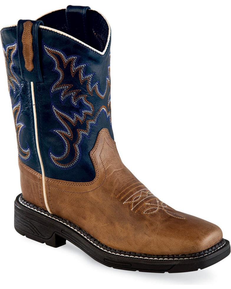Old West Boys' Tan/Navy Leather Work Rubber Cowboy Boots - Square Toe, Tan, hi-res