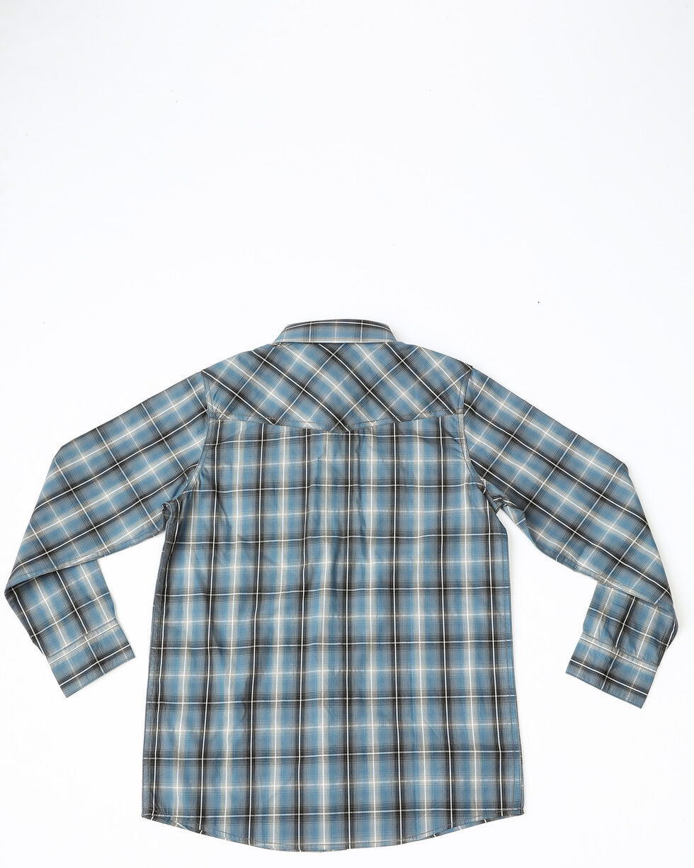 Cody James Boys' Ringo Ombre Plaid Long Sleeve Western Shirt , Brown, hi-res