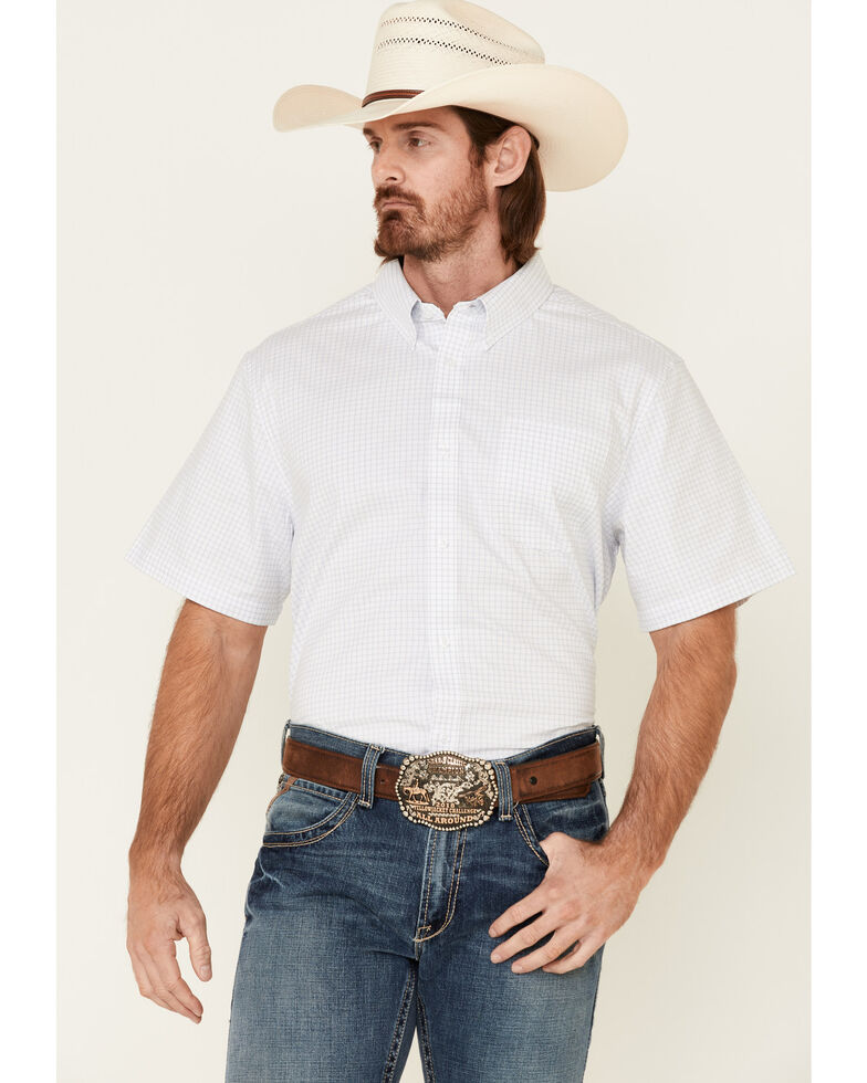 Cody James Core Men's Wichita Small Plaid Short Sleeve Button-Down Western Shirt - Tall , Light Blue, hi-res