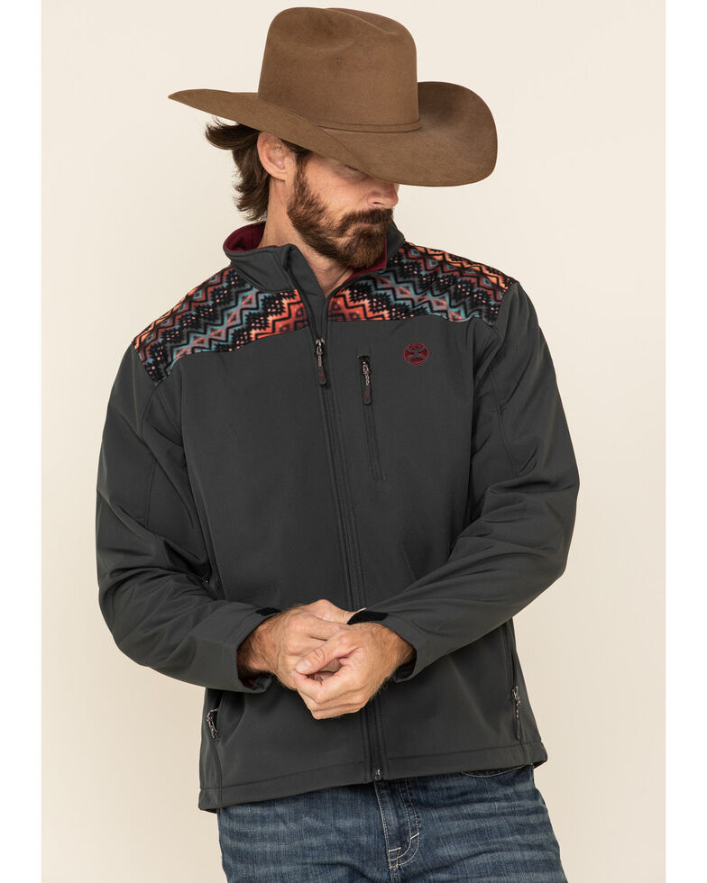 HOOey Men's Charcoal Aztec Softshell Zip-Up Jacket , Charcoal, hi-res