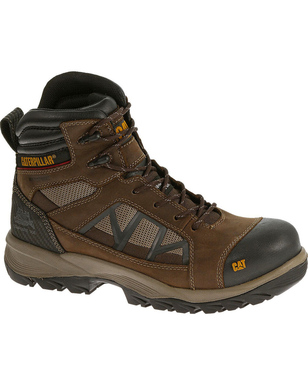 CAT Men's Compressor Waterproof Composite Toe Work Boots, Brown, hi-res