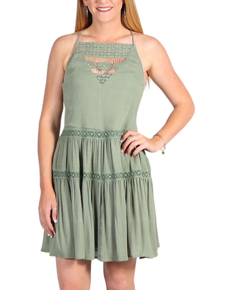 Golden Touch Women's Strappy Tiered Dress, Sage, hi-res
