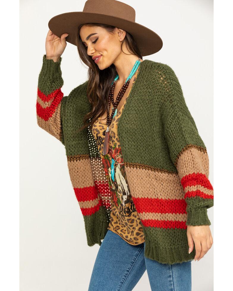 Elan Women's Stripe Loose Knit Cardigan, Olive, hi-res