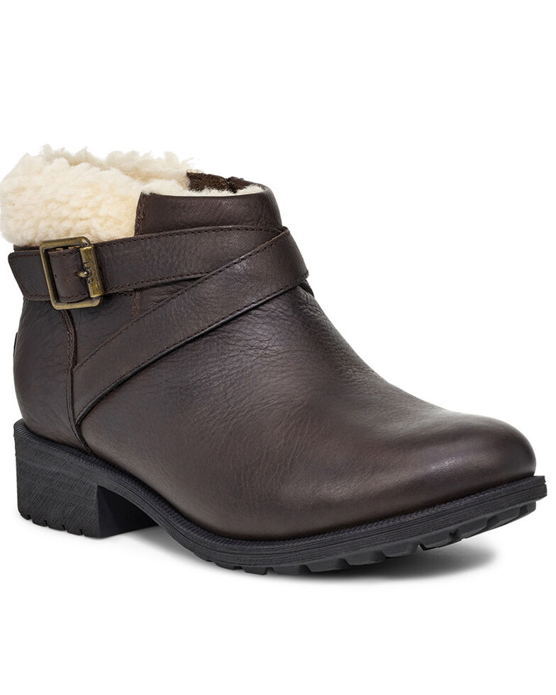 UGG Women's Benson Harness Boots - Round Toe, Dark Brown, hi-res