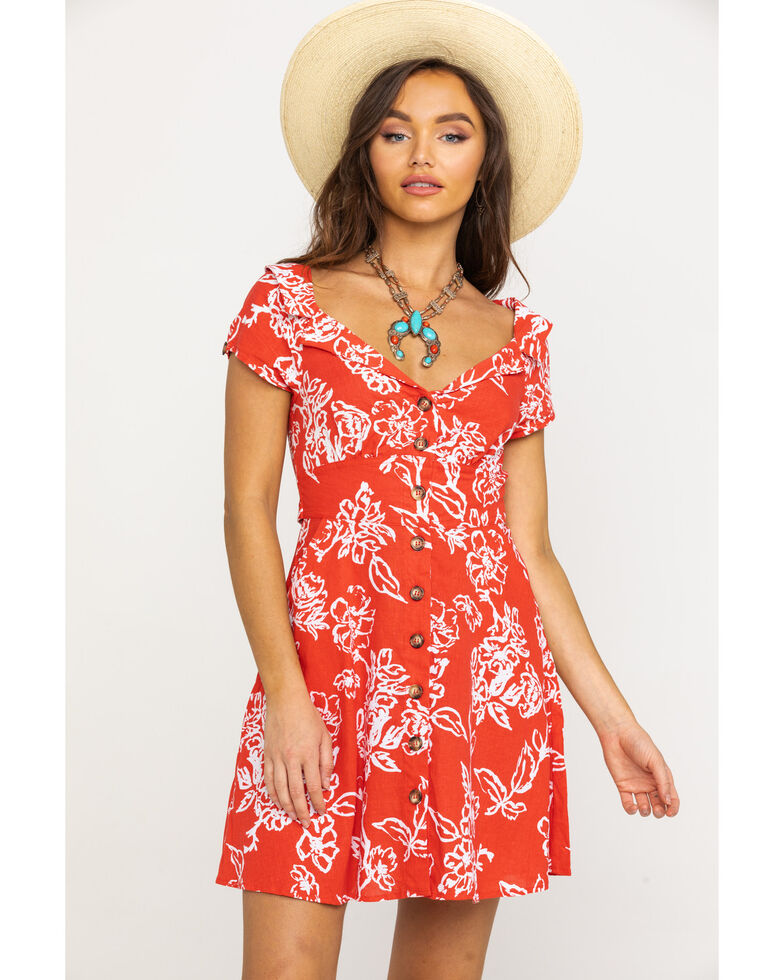 Free People Women's A Thing Called Love Mini Dress, Red, hi-res