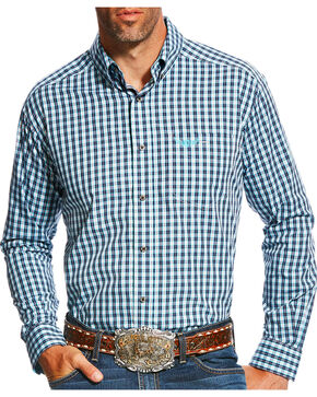 Ariat Men's Navy Brave Checkered Print Western Shirt , Navy, hi-res
