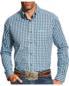 Ariat Men's Navy Brave Checkered Print Western Shirt , Navy, hi-res