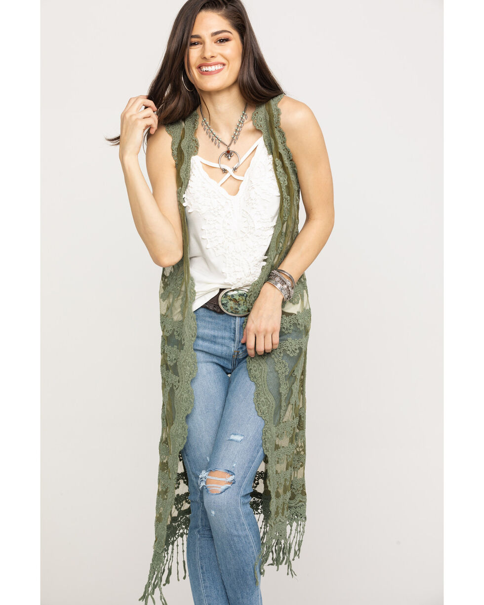 Red Label by Panhandle Women's Olive Lace Fringe Duster , Olive, hi-res