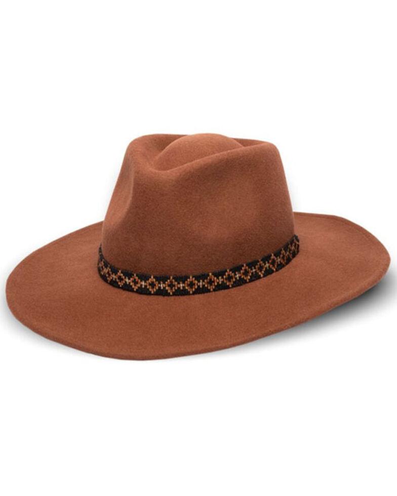 Nikki Beach Women's Electra Wool Felt Western Hat , Cognac, hi-res