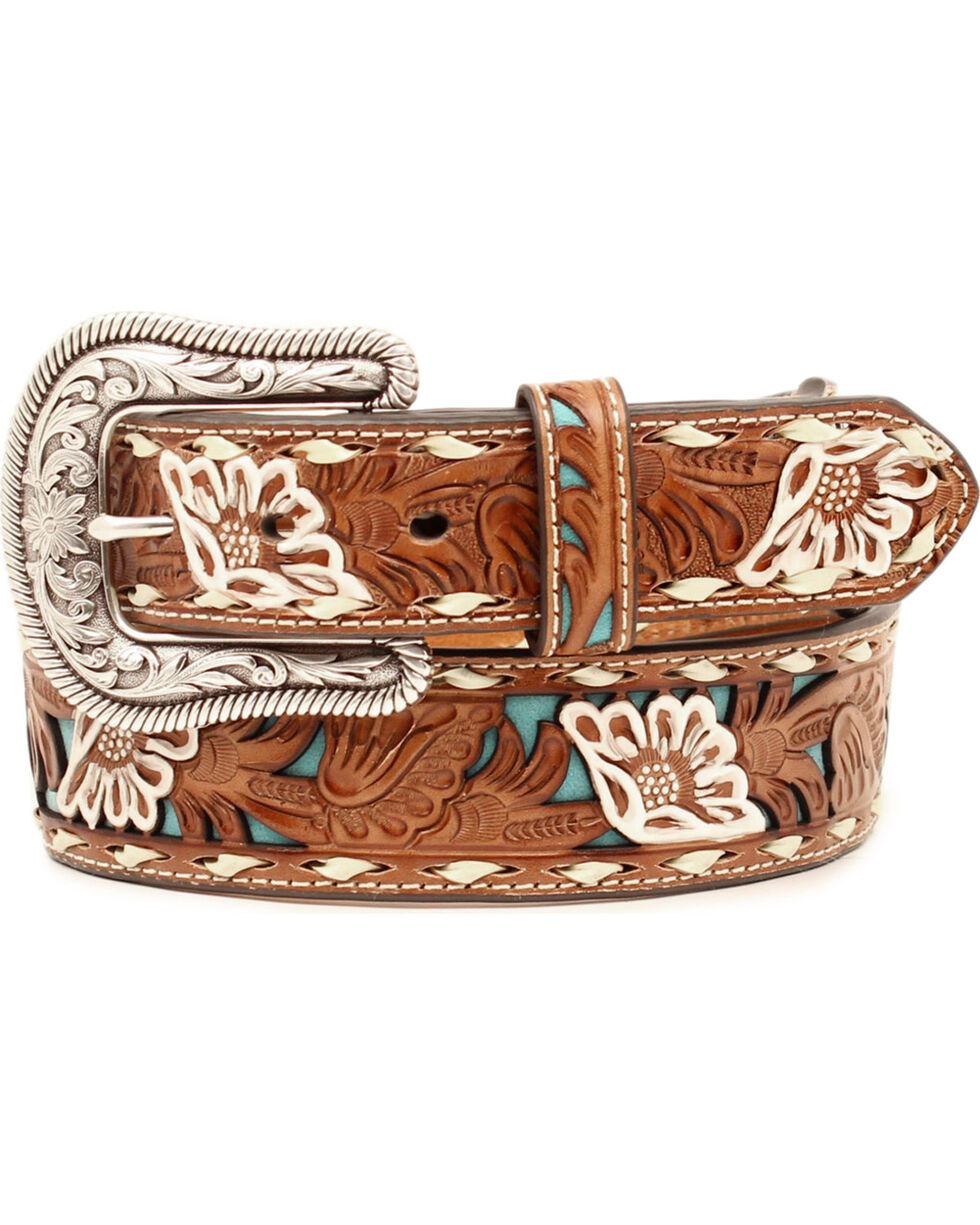 Nocona Women's Brown Floral Tooled Overlay Leather Belt, Tan, hi-res