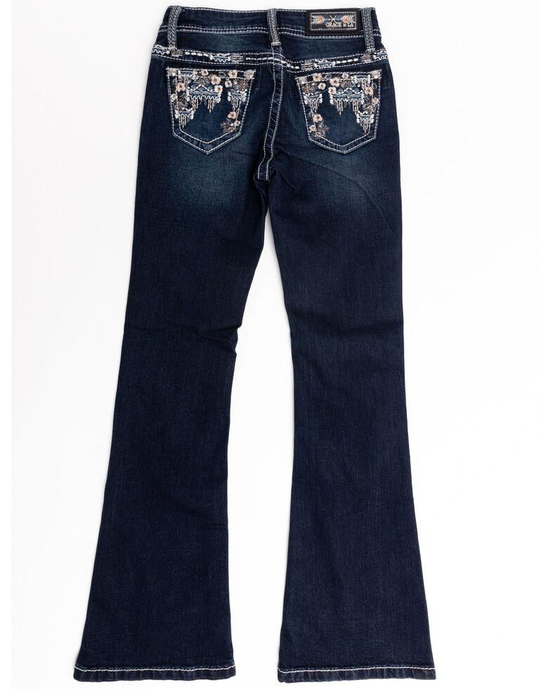 Grace in LA Girls' Dark Wash Floral Pocket Bootcut Jeans , Blue, hi-res