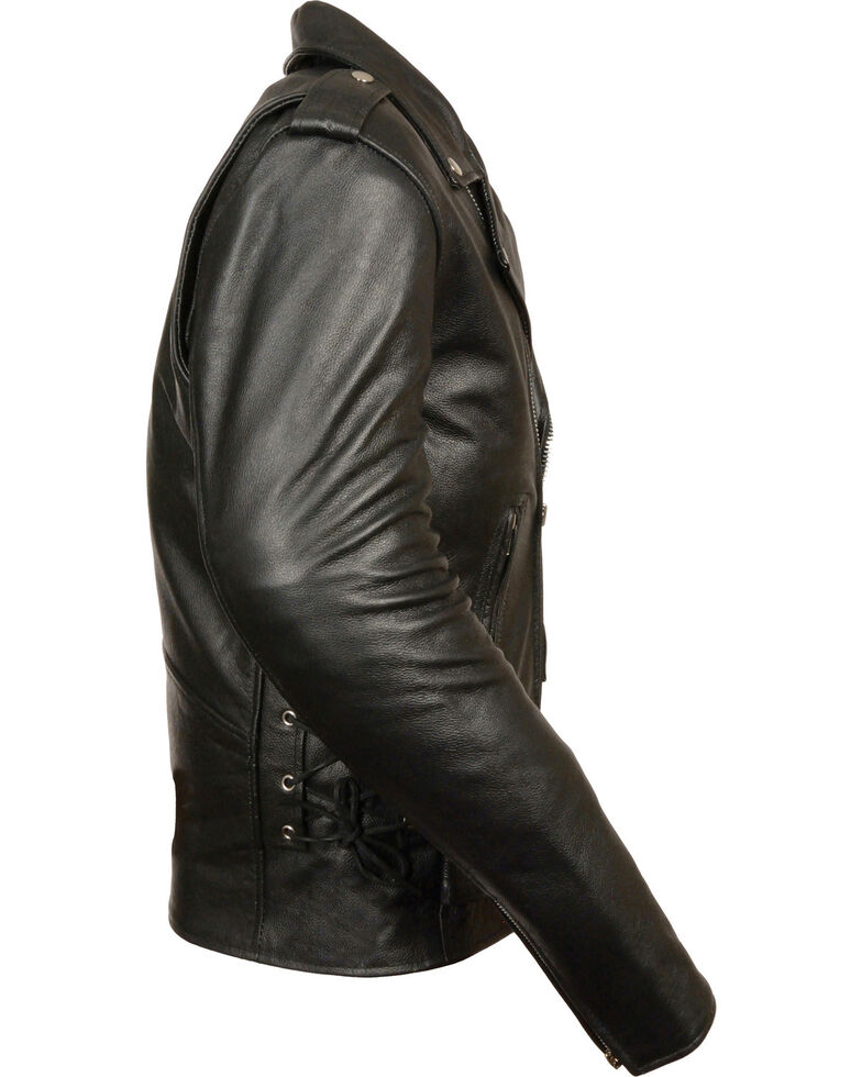 7ed05b2c8aa Milwaukee Leather Men s Classic Side Lace Police Style Motorcycle Jacket -  Tall
