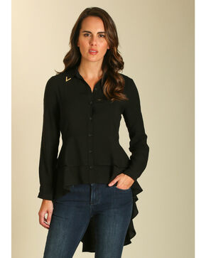 Wrangler Women's Black Tiered Ruffle Hem Long Sleeve Top, Black, hi-res