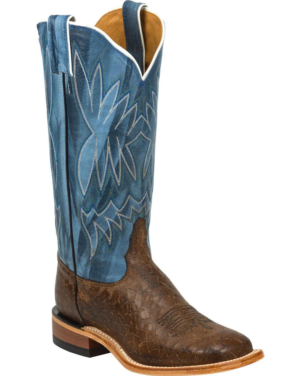 Tony Lama Women's Reverse Quill Print Americana Western Boots, Chocolate, hi-res