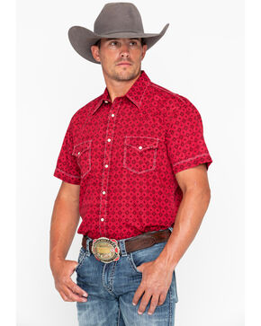 Rock & Roll Cowboy Men's Crinkle Diamond Print Short Sleeve Western Shirt , Red, hi-res