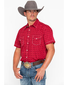 2681e0198b9 Rock   Roll Cowboy Men s Crinkle Diamond Print Short Sleeve Western Shirt