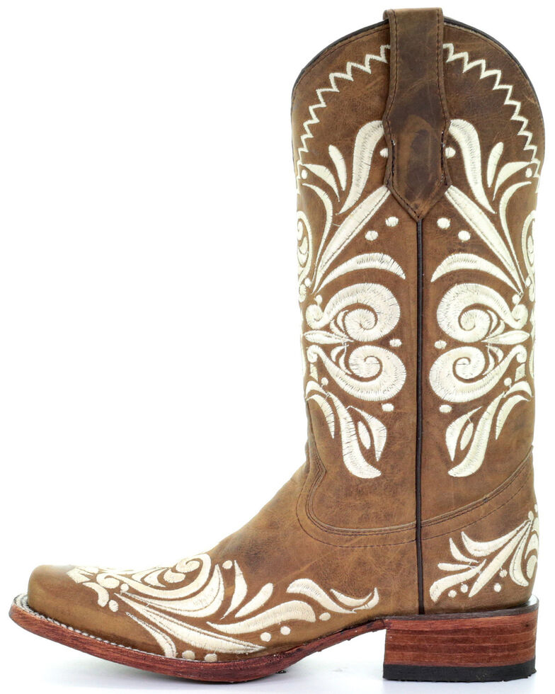 Circle G Women's Tan Embroidery Western Boots - Square Toe, Tan, hi-res